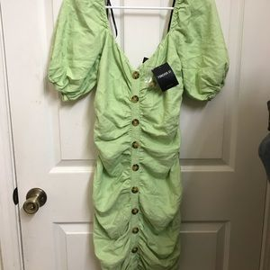 NWT FOREVER 21 GREEN RUCHED DRESS